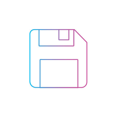 floppy disk memory for save button outline line style icon. storage diskette vector illustration