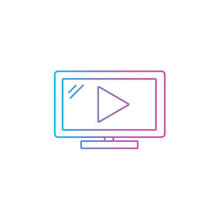 video play flat outline line icon for movie streaming, social media or online course vector illustration
