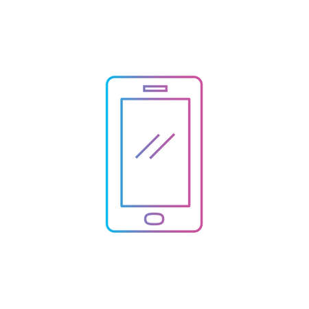 smartphone device icon with outline line style flat illustration