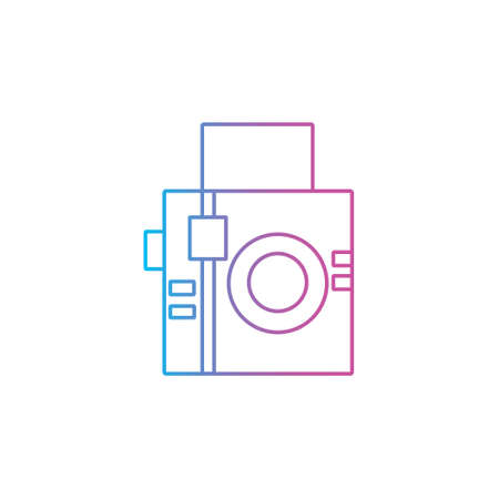 analogue square camera flat style outline line icon for photographer vector illustration 일러스트