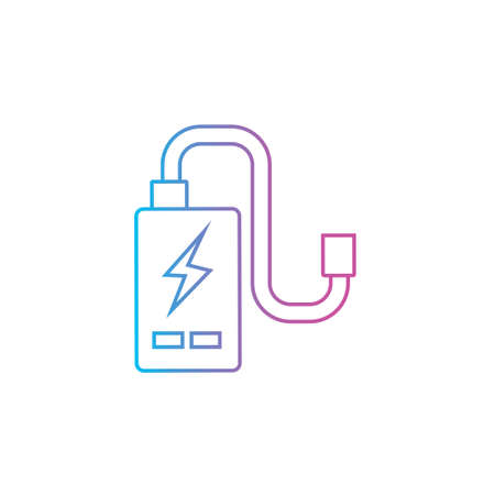 power cell storage battery or portable charger outline line icon vector illustration