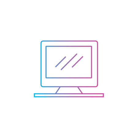 computer monitor pc icon with outline line style vector illustration 矢量图像