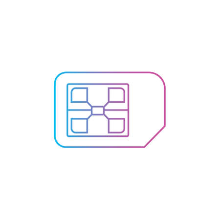 cellular sim card outline line style icon vector illustration
