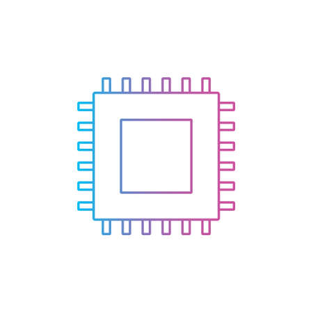 microchip cpu processor chip outline line style icon vector illustration