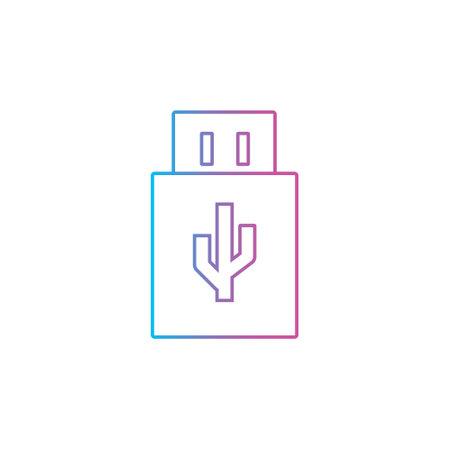 usb data storage outline line style icon vector illustration