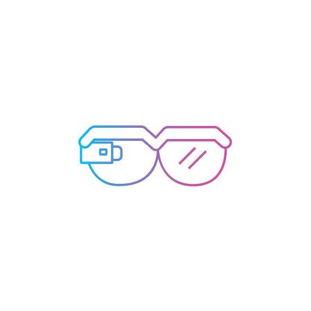 smart glasses outline line style icon vector illustration