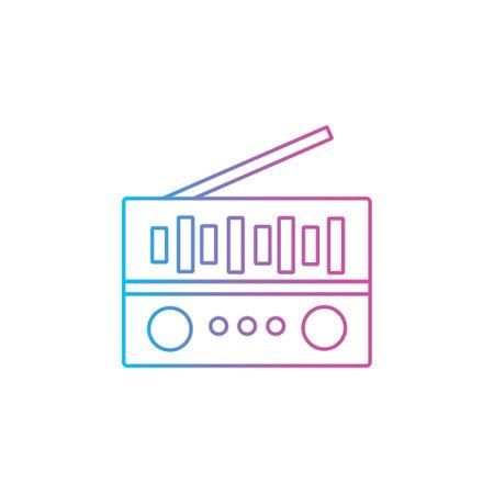 radio fm tuner outline line style icon vector illustration 矢量图像