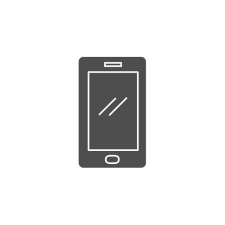 smartphone device icon with black solid style flat illustration 矢量图像