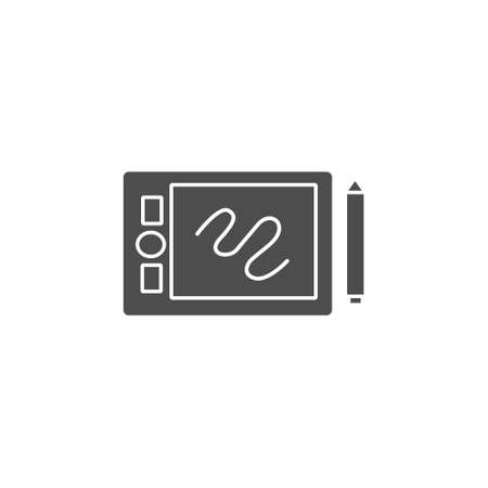 pen tablet and stylus tools gadget black solid style icon vector illustration