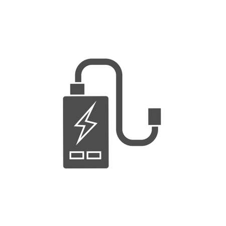 power cell storage battery or portable charger black solid icon vector illustration 矢量图像