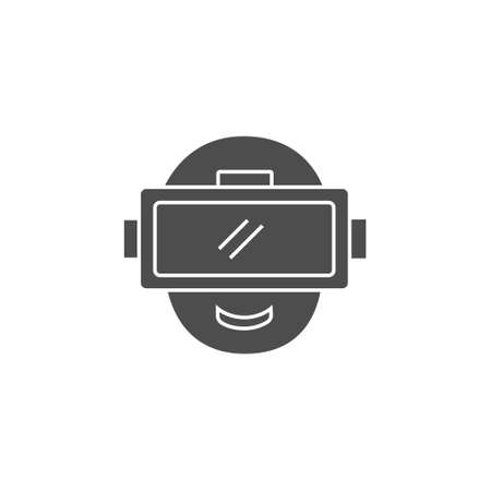 vr virtual or augmented reality black solid style icon with eyewear device vector illustration 矢量图像