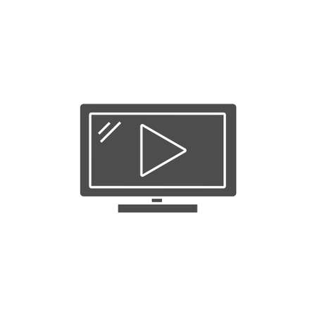 video play flat black solid icon for movie streaming, social media or online course vector illustration