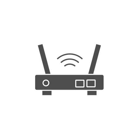 wifi router port device black solid style icon vector illustration