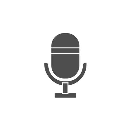 microphone flat black solid icon for podcast, radio or sound record sign symbol vector illustration 矢量图像