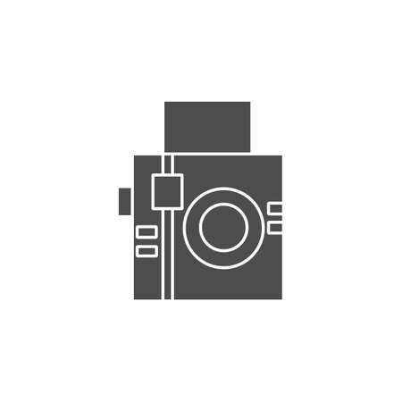analogue square camera flat style black solid icon for photographer vector illustration 矢量图像