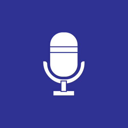 microphone flat solid icon for podcast, radio or sound record sign symbol vector illustration