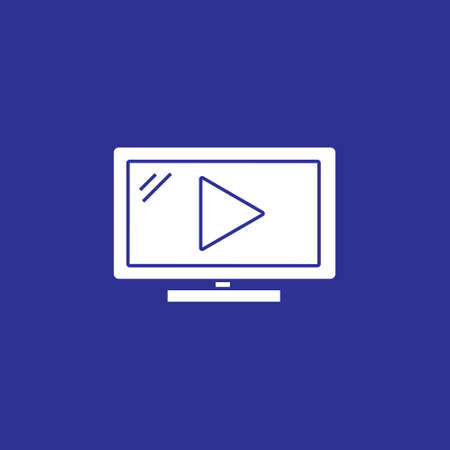 video play flat solid icon for movie streaming, social media or online course vector illustration