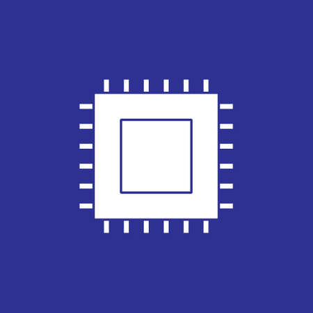microchip cpu processor chip solid style icon vector illustration