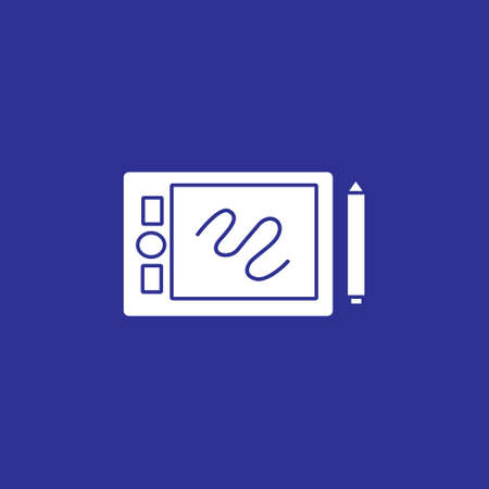 pen tablet and stylus tools gadget solid style icon vector illustration