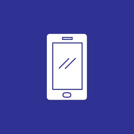 smartphone device icon with solid style flat illustration