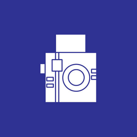 analogue square camera flat style solid icon for photographer vector illustration