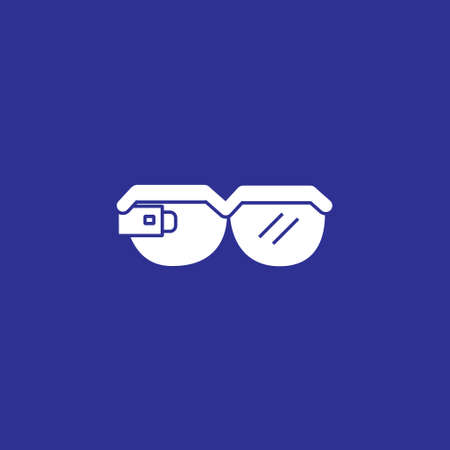 smart glasses solid style icon vector illustration
