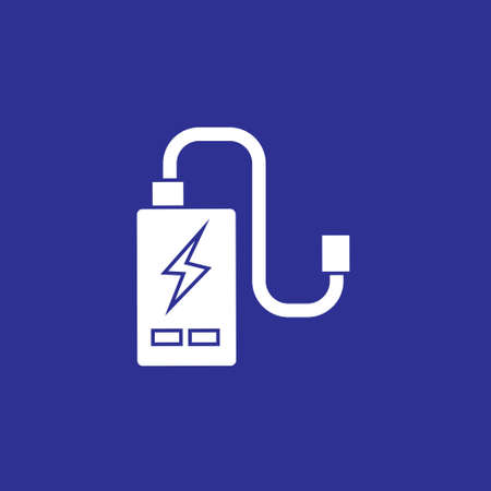 power cell storage battery or portable charger solid icon vector illustration