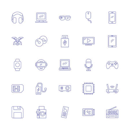 multimedia icon set with outline line style. technology device sign symbol vector illustration