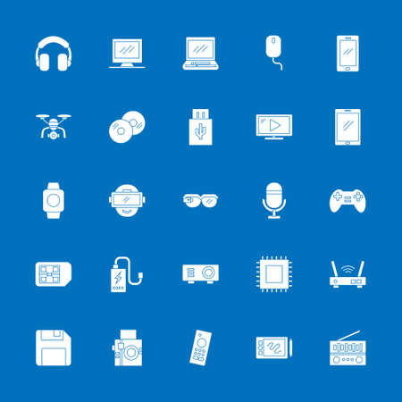 multimedia icon set with flat solid style. technology device sign symbol vector illustration 矢量图像