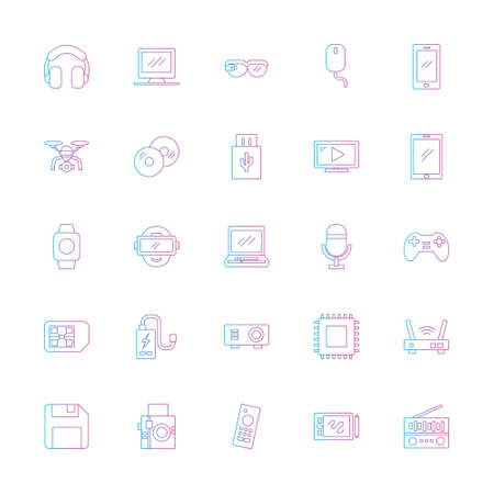 multimedia icon set with outline line gradient style. technology device sign symbol vector illustration
