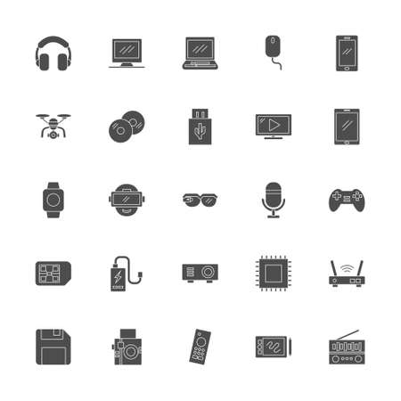 multimedia icon set with black bold solid style. technology device sign symbol vector illustration 矢量图像