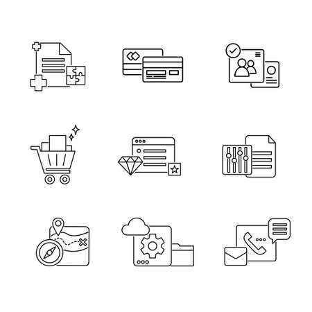business and technology outline line stroke icon set vector illustration