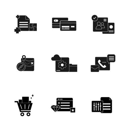 business and technology black glyph solid icon set vector illustration