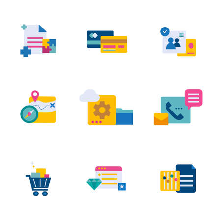business and technology flat style icon set vector illustration