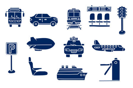 silhouette of transportation. doodle sketch style icon set. isolated on white background simple ink hand drawn Vector illustration
