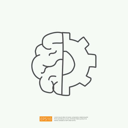 engineering related doodle with brain and gear symbol. artificial intelligence AI concept for inspiration, development, brainstorming sign. stroke line vector illustration Çizim