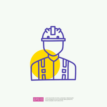 engineer with safety hardhat helmet icon. engineering and architecture related doodle concept with fill color line vector illustration