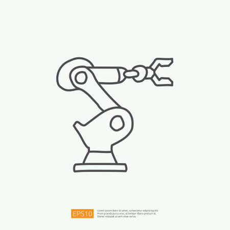 industrial robot arm machine doodle icon. engineering related doodle concept symbol sign. stroke line vector illustration