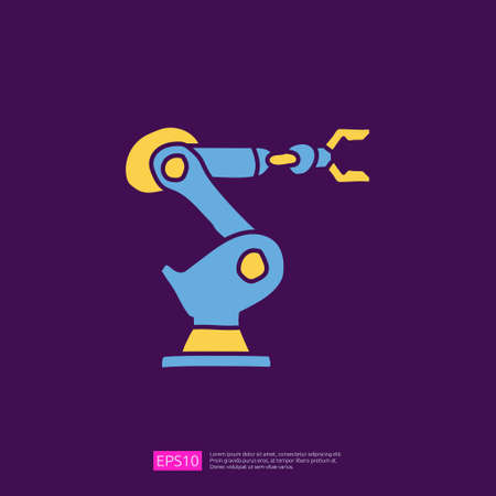 industrial robot arm machine doodle icon. engineering related doodle concept symbol sign. fill color line vector illustration Çizim
