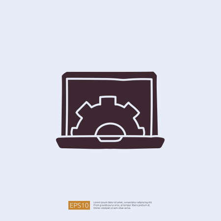 engineering related doodle concept with laptop and gear symbol sign. maintenance icon with computer repair symbol. solid style icon vector illustration Çizim