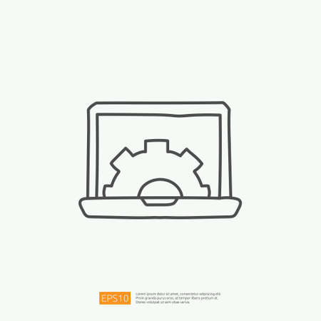 engineering related doodle concept with laptop and gear symbol sign. maintenance icon with computer repair symbol. stroke line vector illustration Illustration