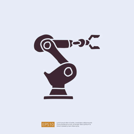 industrial robot arm machine doodle icon. engineering related doodle concept symbol sign. solid style icon vector illustration Illustration