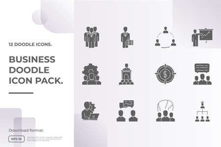 business teamwork doodle icon. business partnership strategy and leadership management concept sign symbol vector illustration Imagens - 164202313