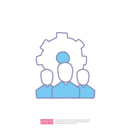 team leadership concept doodle icon with man and gear symbol. corporate teamwork icon sign vector illustration