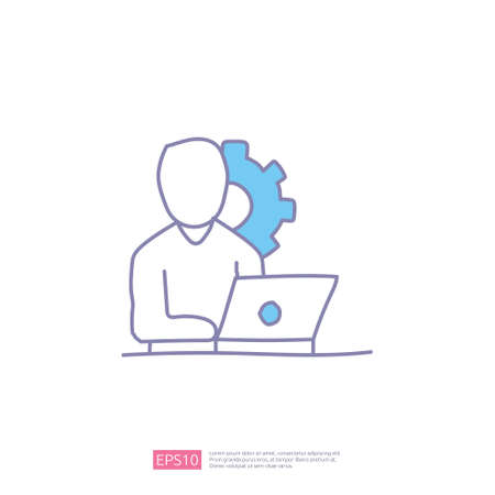 worker desk doodle icon concept with people and laptop sign symbol vector illustration
