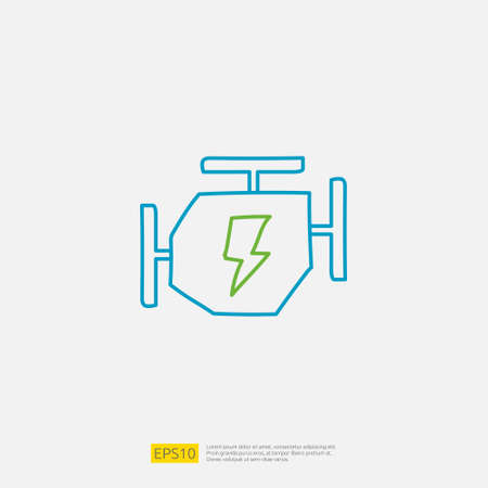 electric engine machine doodle icon. electrical vehicle sign symbol concept vector illustration Imagens - 164190489