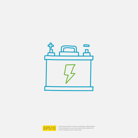 accu electric acid battery doodle icon. sign symbol for vehicle concept. eco green friendly transportation on white background vector illustration