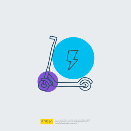 electric scooter doodle icon. electrical vehicle concept sign symbol. Modern city ecological transport vector illustration Imagens - 164190502