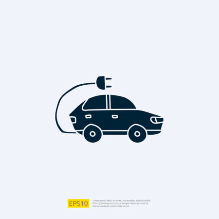 electric car doodle icon sign symbol vehicle concept. eco green friendly transportation on white background vector illustration Imagens - 164184196