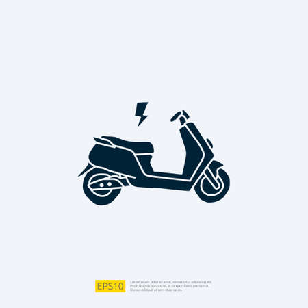 Electric motorcycle doodle icon. electrical motorbike concept sign symbol. Modern city ecological transport vector illustration